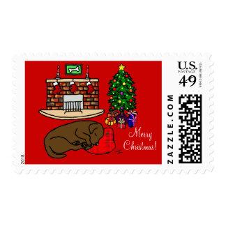 Chocolate Labrador Retriever Christmas Stamps