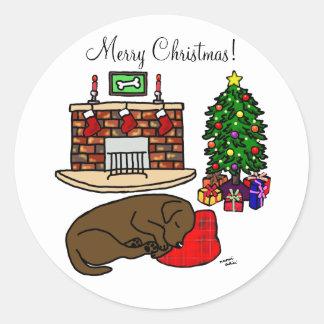 Chocolate Labrador Retriever Christmas Stickers