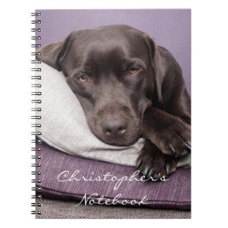 Chocolate labrador retriever dog custom boys name notebook