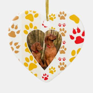 Chocolate Labrador Retriever  Dog Hearts Paw Print Ceramic Ornament