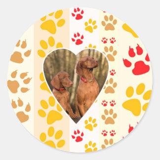 Chocolate Labrador Retriever  Dog Hearts Paw Print Classic Round Sticker