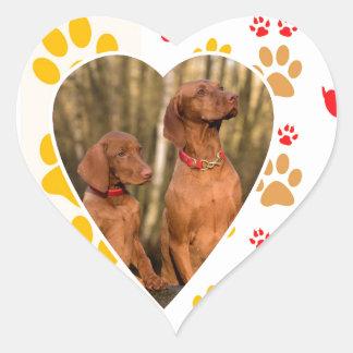Chocolate Labrador Retriever  Dog Hearts Paw Print Heart Sticker
