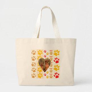 Chocolate Labrador Retriever  Dog Hearts Paw Print Large Tote Bag