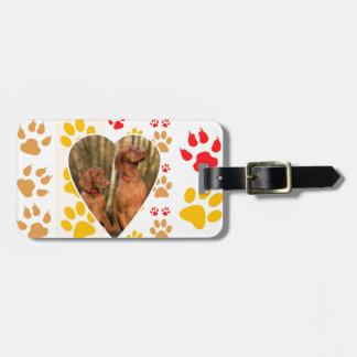 Chocolate Labrador Retriever  Dog Hearts Paw Print Luggage Tag