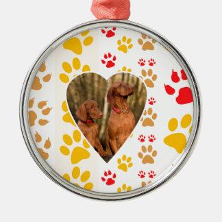 Chocolate Labrador Retriever  Dog Hearts Paw Print Metal Ornament