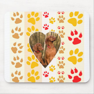 Chocolate Labrador Retriever  Dog Hearts Paw Print Mouse Pad