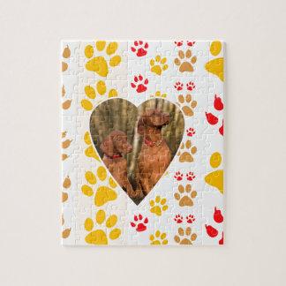 Chocolate Labrador Retriever  Dog Hearts Paw Print Puzzle