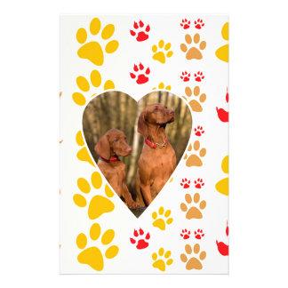 Chocolate Labrador Retriever  Dog Hearts Paw Print Stationery