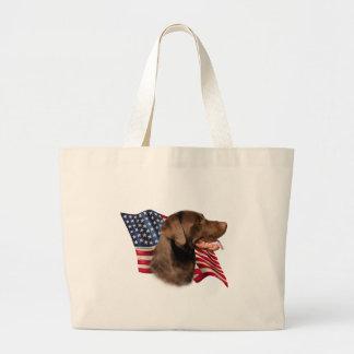 Chocolate Labrador Retriever Flag Canvas Bags