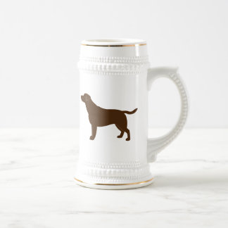 Chocolate Labrador Retriever in Silhouette Beer Stein