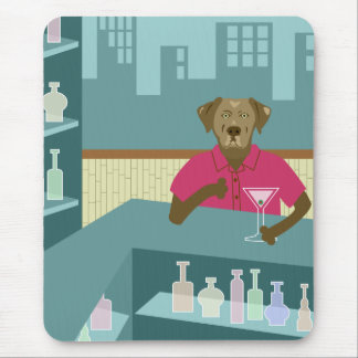 Chocolate Labrador Retriever Martini Mouse Pad