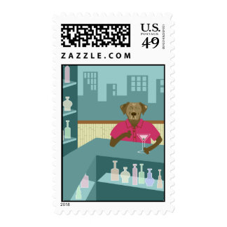Chocolate Labrador Retriever Martini Postage Stamps