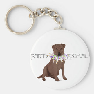 Chocolate Labrador Retriever Party Basic Round Button Keychain