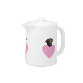 Chocolate Labrador Retriever Pink Heart Teapot