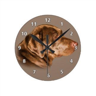 Chocolate Labrador Retriever Round Clock