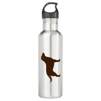 Chocolate Labrador Retriever Silhouette Stainless Steel Water Bottle