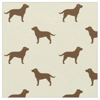 Chocolate Labrador Retriever Silhouettes Pattern Fabric