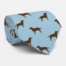 Chocolate Labrador Retriever Silhouettes Pattern Tie