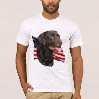 Chocolate Labrador Retriever with Flag t-shirt