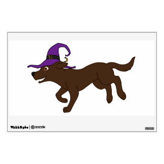 Chocolate Labrador Retriever with Witch Hat Wall Skins