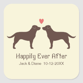 Chocolate Labrador Retrievers with Heart and Text Square Sticker