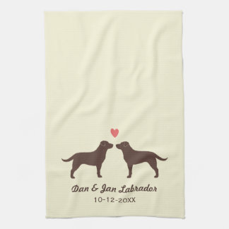 Chocolate Labrador Retrievers with Heart and Text Towel