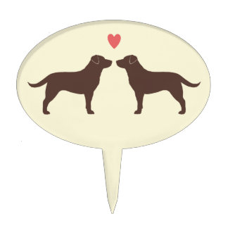 Chocolate Labrador Retrievers with Heart Cake Picks