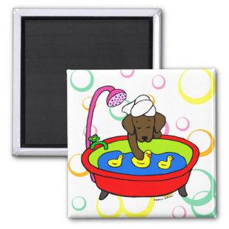 Chocolate Labrador & Rubber Ducks Cartoon 2 Inch Square Magnet