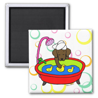 Chocolate Labrador & Rubber Ducks Cartoon Magnet