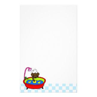 Chocolate Labrador Rubber Ducks Cartoon Stationery Paper