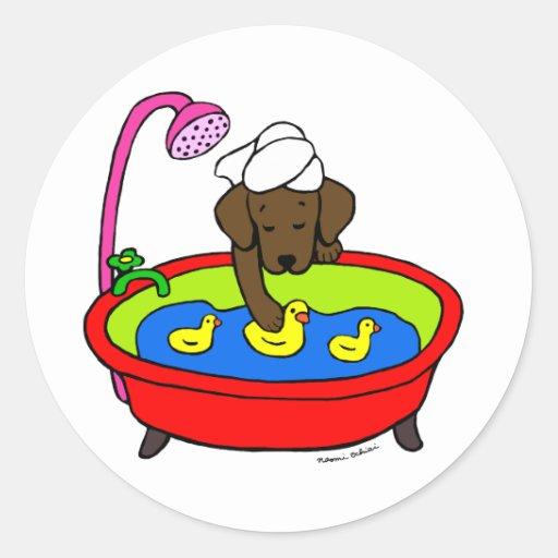 Chocolate Labrador & Rubber Ducks Cartoon Classic Round Sticker