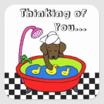 Chocolate Labrador & Rubber Ducks Cartoon Square Sticker