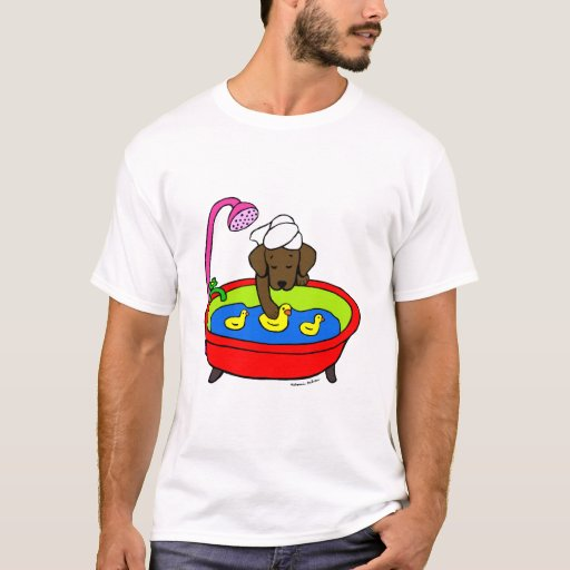 Chocolate Labrador & Rubber Ducks Cartoon T-Shirt