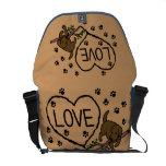 Chocolate Labrador Sand Letters Cartoon Messenger Bags