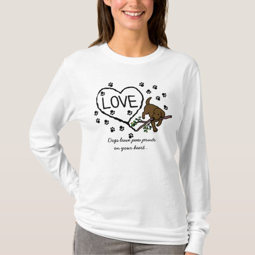 Chocolate Labrador Sand Letters Cartoon T-Shirt