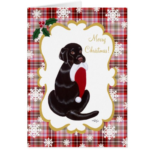 Chocolate Labrador & Santa Hat Snowflake Card