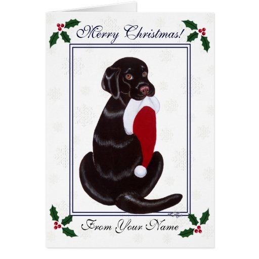 Chocolate Labrador Santa Snowflake Christmas Cards