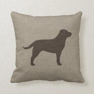 Chocolate Labrador Silhouette | Faux Linen Style Throw Pillow