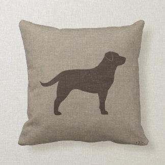Chocolate Labrador Silhouette   Faux Linen Style Throw Pillow