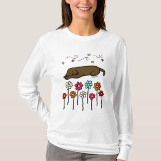 Chocolate Labrador Sleeping in the Garden T-Shirt