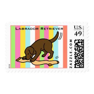 Chocolate Labrador Stocking Stamps