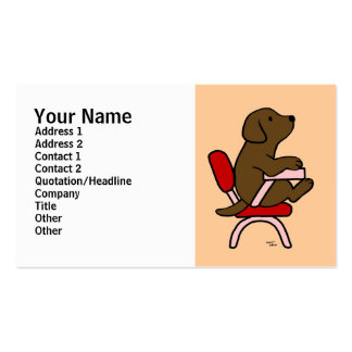 Chocolate Labrador Student 1 Cartoon Double-Sided Standard Business Cards (Pack Of 100)