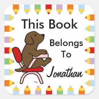 Chocolate Labrador Student 1 Cartoon Square Sticker