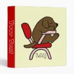 Chocolate Labrador Student 2 Cartoon 3 Ring Binders