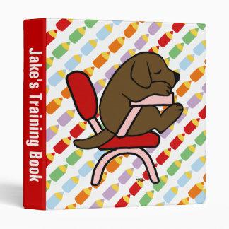 Chocolate Labrador Student 2 Cartoon Binder