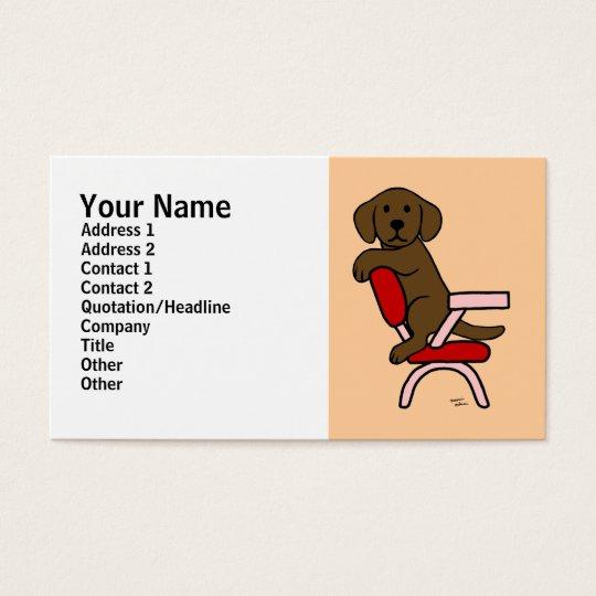 Chocolate Labrador Student 3 Cartoon Business Card