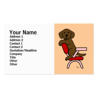 Chocolate Labrador Student 3 Cartoon Double-Sided Standard Business Cards (Pack Of 100)