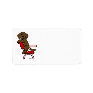 Chocolate Labrador Student 3 Cartoon Label