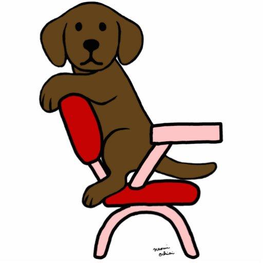 Chocolate Labrador Student 3 Cartoon Photo Cut Out