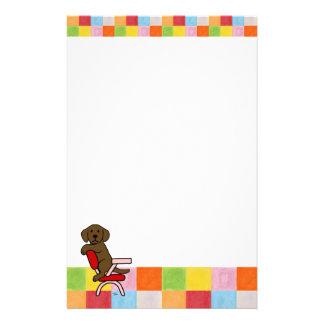 Chocolate Labrador Student 3 Mosaic Stationery Paper